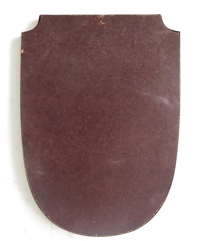 Shield Shaped Italian Brass Framed Mirror For Sale 2