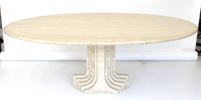 "Italian Travertine Oval Top ""Samo"" Fluted Carved Base Dining Table Carlo Scarpa 2"