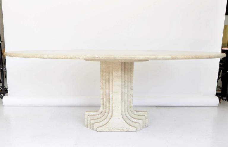 "Italian Travertine Oval Top ""Samo"" Fluted Carved Base Dining Table Carlo Scarpa 5"