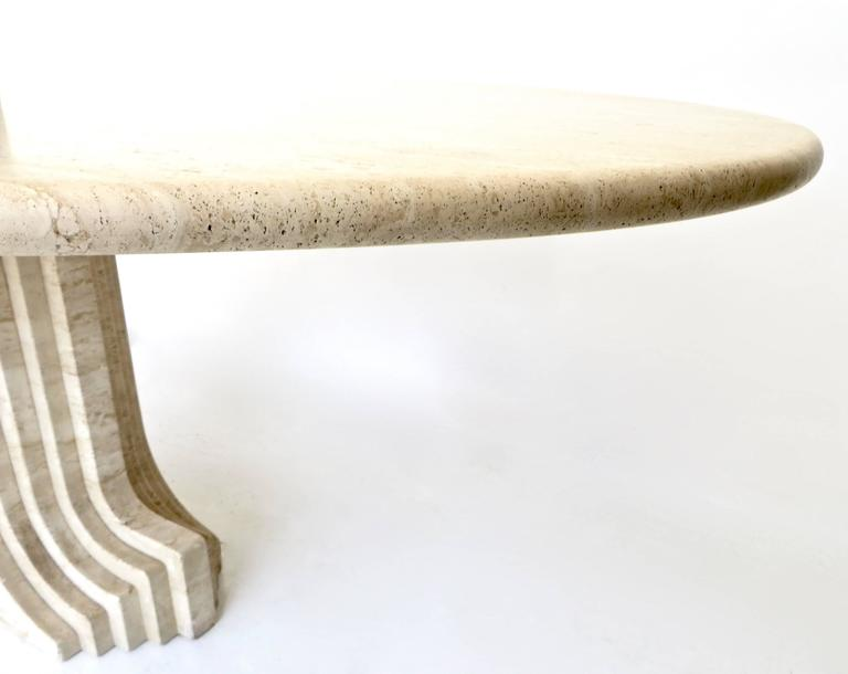 "Italian Travertine Oval Top ""Samo"" Fluted Carved Base Dining Table Carlo Scarpa 7"