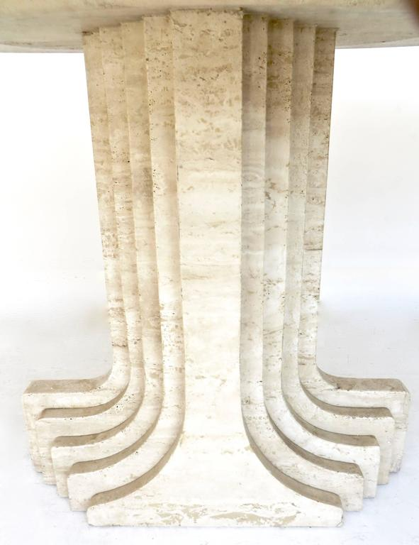 "Italian Travertine Oval Top ""Samo"" Fluted Carved Base Dining Table Carlo Scarpa 10"