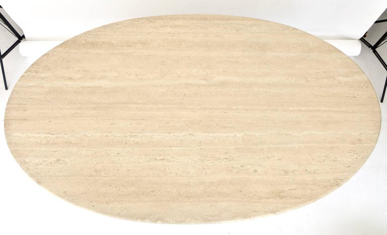 "Italian Travertine Oval Top ""Samo"" Fluted Carved Base Dining Table Carlo Scarpa 8"