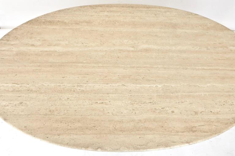 "Italian Travertine Oval Top ""Samo"" Fluted Carved Base Dining Table Carlo Scarpa 9"