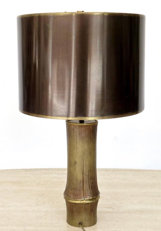 French Bronze Table Lamp by Maison Charles Model Bambou 6
