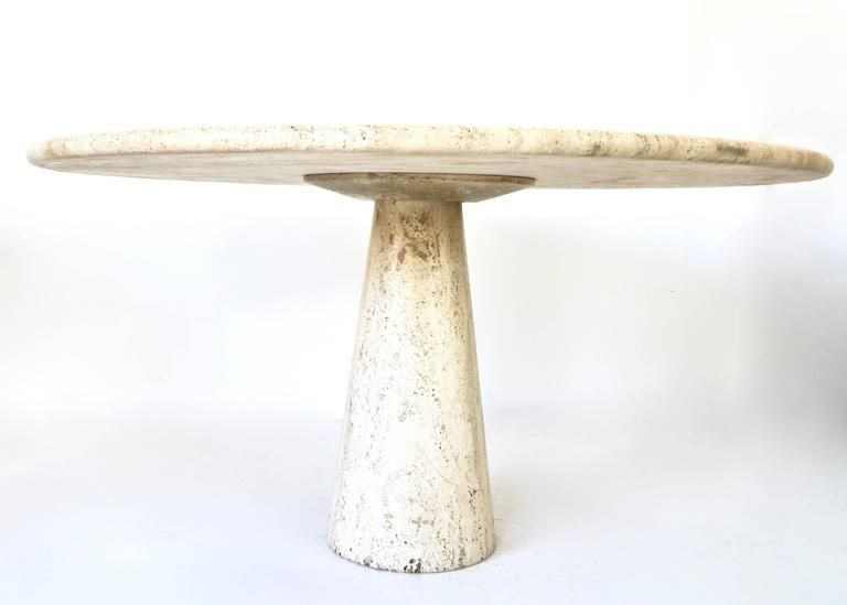 Italian Round Travertine Dining Table in the Style of Mangiarotti 2