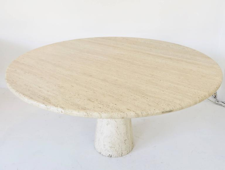 Italian Round Travertine Dining Table in the Style of Mangiarotti 4