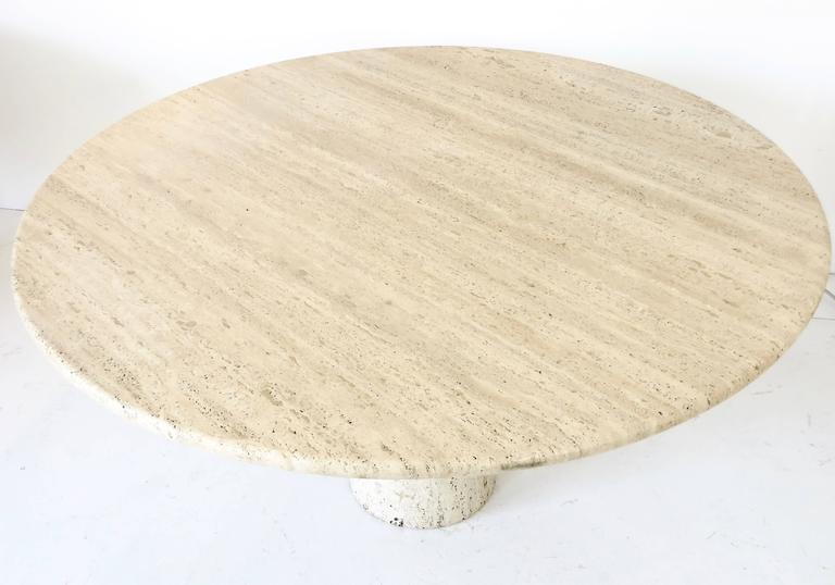 Italian Round Travertine Dining Table in the Style of Mangiarotti 5