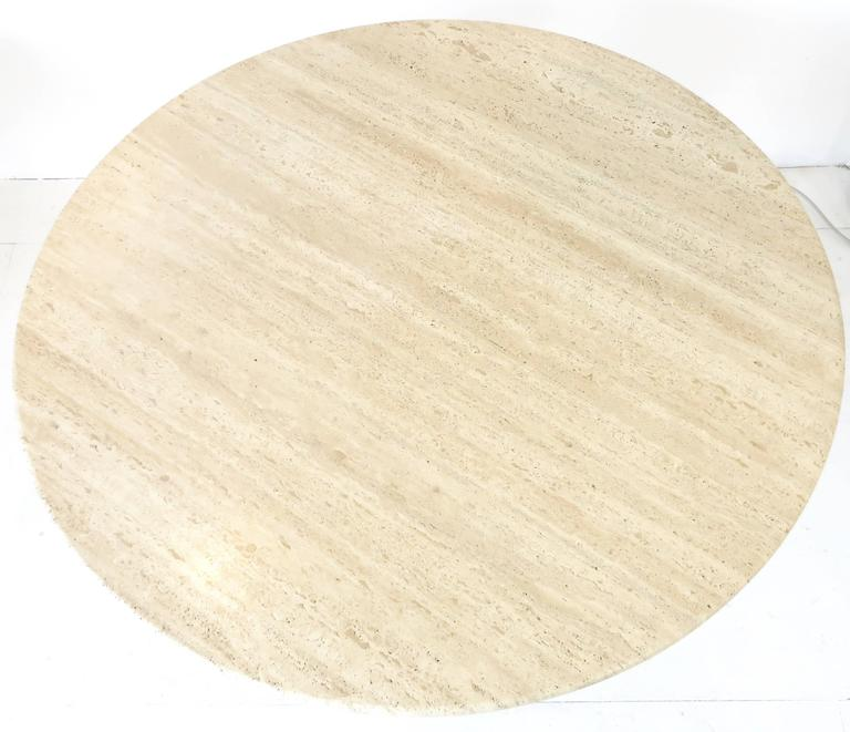 Italian Round Travertine Dining Table in the Style of Mangiarotti 6