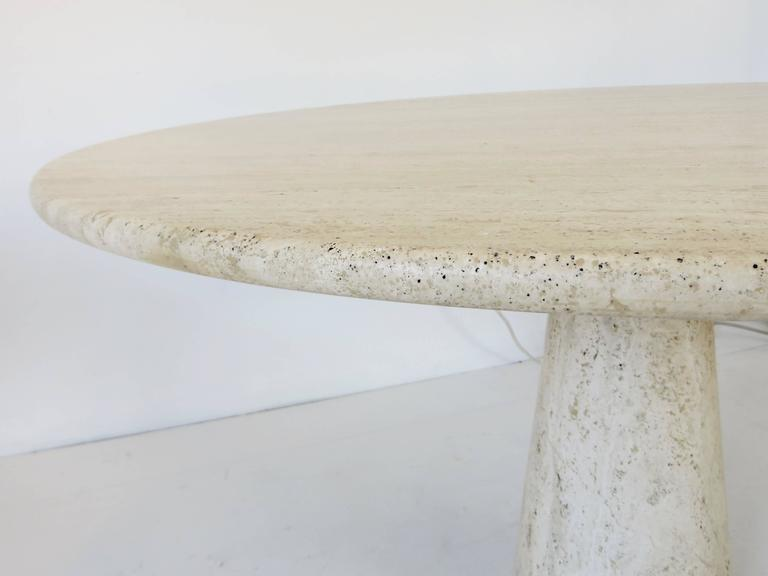 Italian Round Travertine Dining Table in the Style of Mangiarotti 3