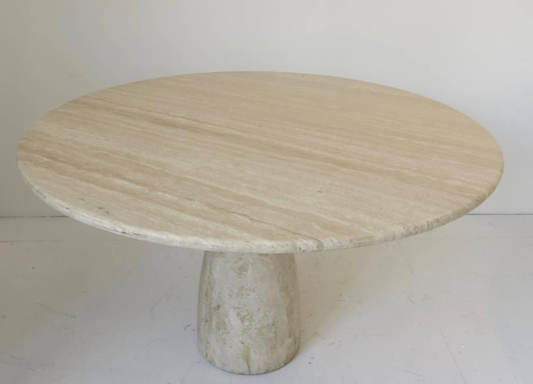 Late 20th Century Travertine Round Dining Table by German Designer Peter Draenert For Sale