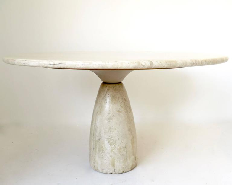 "A round 51"" diameter top travertine dining or centre table by German designer Peter Draenert.