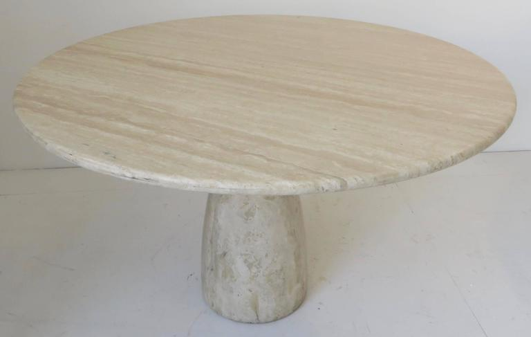 Travertine Round Dining Table by German Designer Peter Draenert For Sale 1