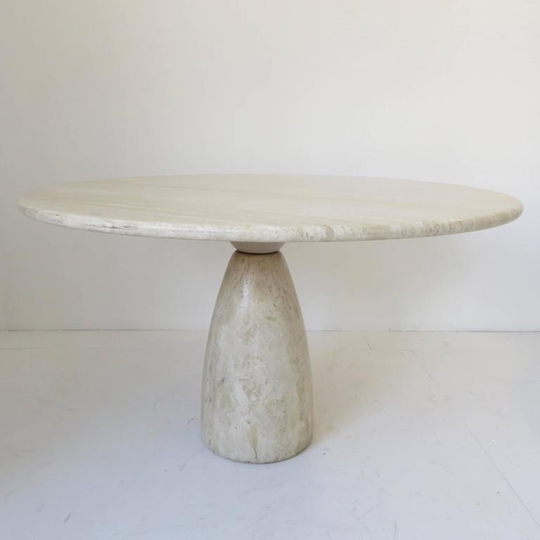 Travertine Round Dining Table by German Designer Peter Draenert For Sale 2