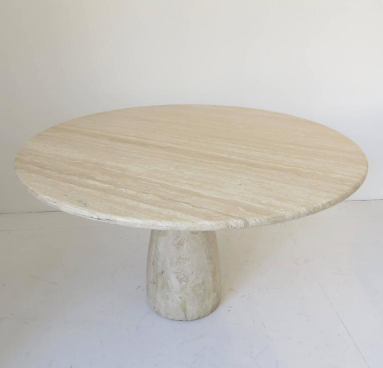 Travertine Round Dining Table by German Designer Peter Draenert In Excellent Condition For Sale In Chicago, IL