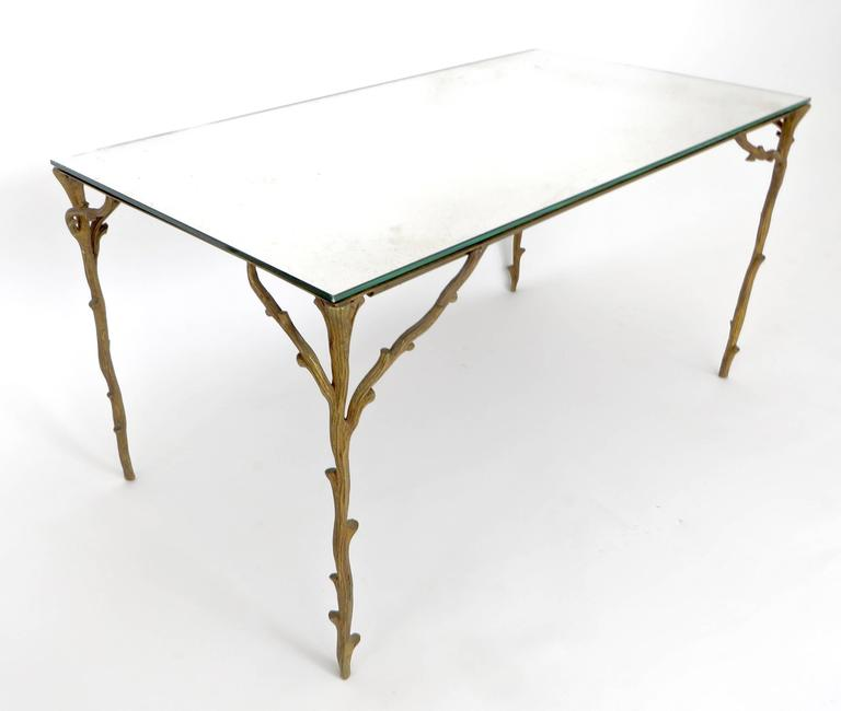 Mid-Century Modern French Bronze Legged Organic Coffee Table by Maison Bagues For Sale