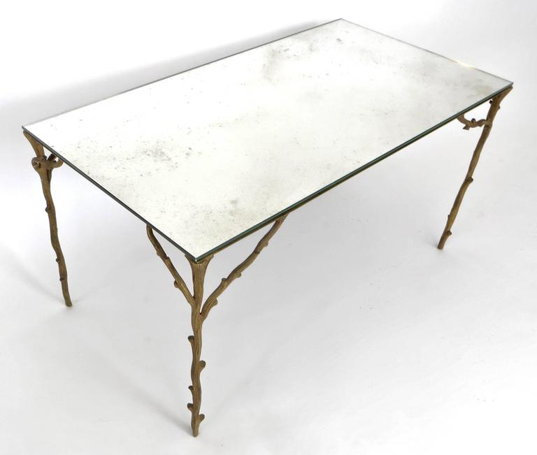 French Bronze Legged Organic Coffee Table by Maison Bagues In Excellent Condition For Sale In Chicago, IL