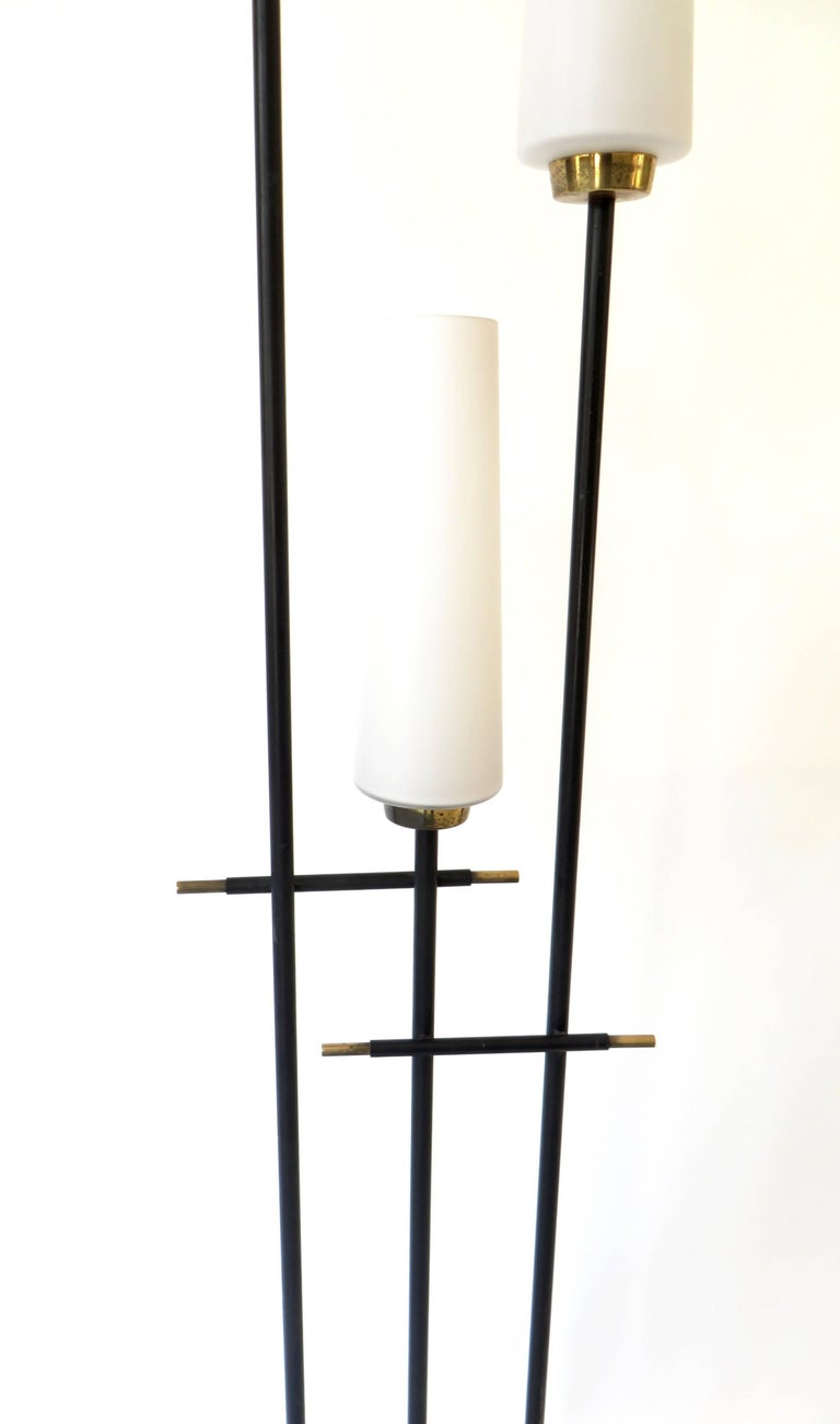 Mid-20th Century Maison Lunel French Three-Light Opaque Glass Floor Lamp  For Sale