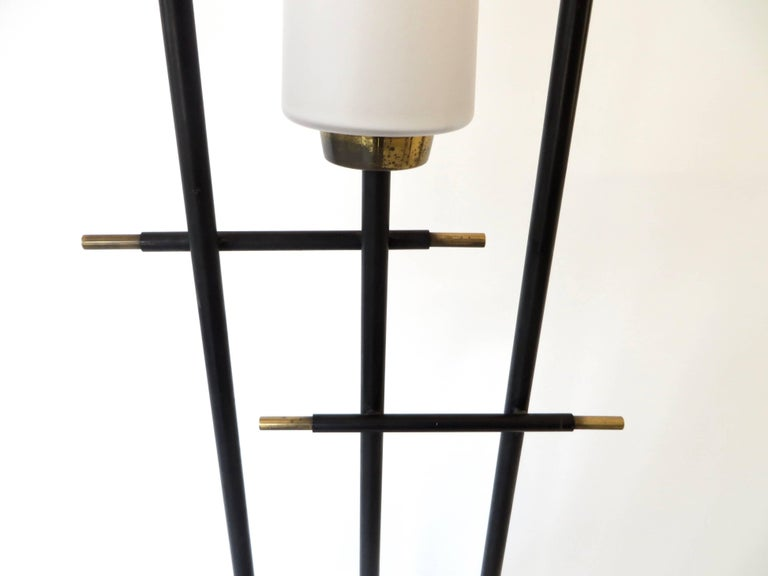Maison Lunel French Three-Light Opaque Glass Floor Lamp  For Sale 1