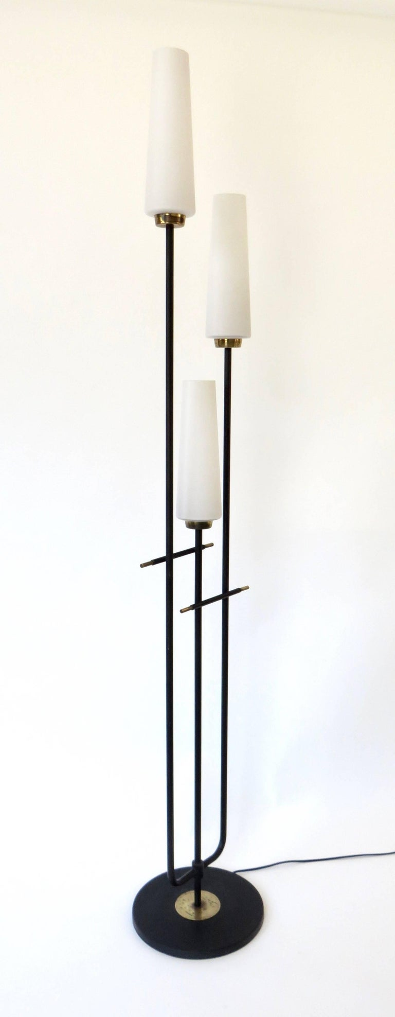 Mid-Century Modern Maison Lunel French Three-Light Opaque Glass Floor Lamp  For Sale