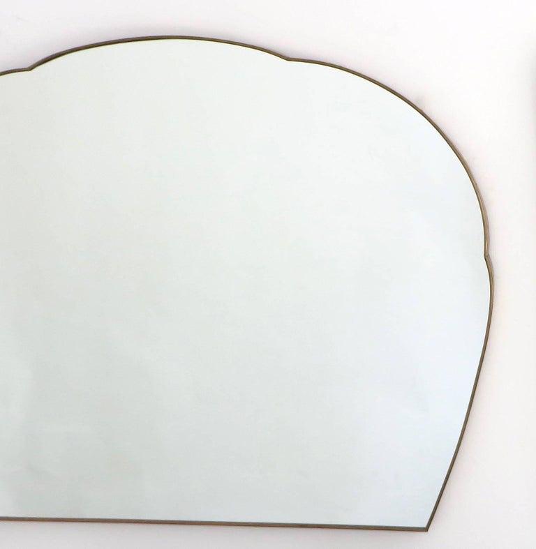 Mid-Century Modern Monumental Italian Brass Mirror For Sale