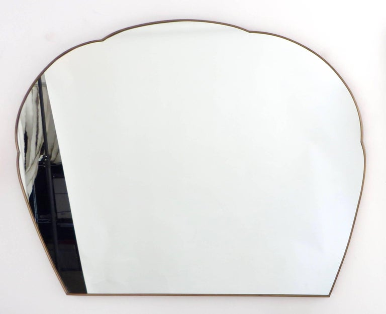 Monumental Italian Brass Mirror For Sale 1