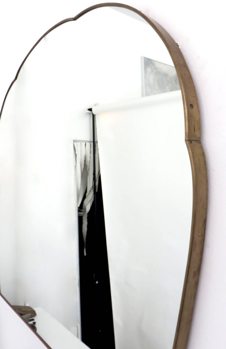 Monumental Italian Brass Mirror In Excellent Condition For Sale In Chicago, IL