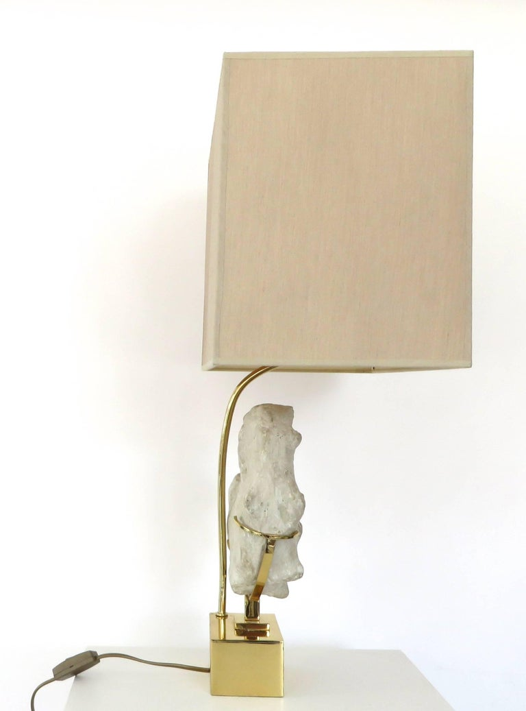 Late 20th Century Mounted Ammonite Belgian Specimen Lamp with Brass Base and Armature For Sale