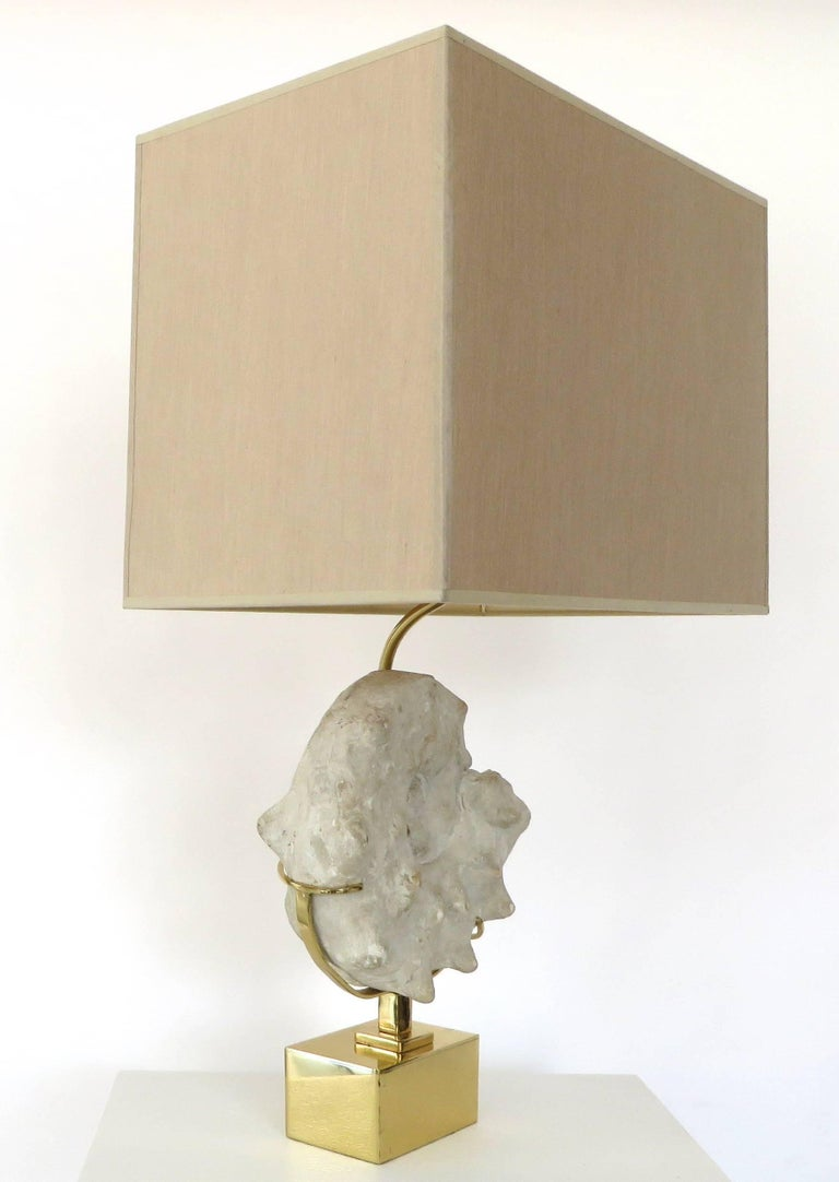 Mounted Ammonite Belgian Specimen Lamp with Brass Base and Armature In Excellent Condition For Sale In Chicago, IL
