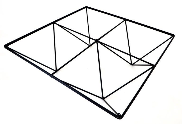 Steel Italian Square Black Alanda Coffee Table by Paolo Piva with Glass Top B&B Italia For Sale