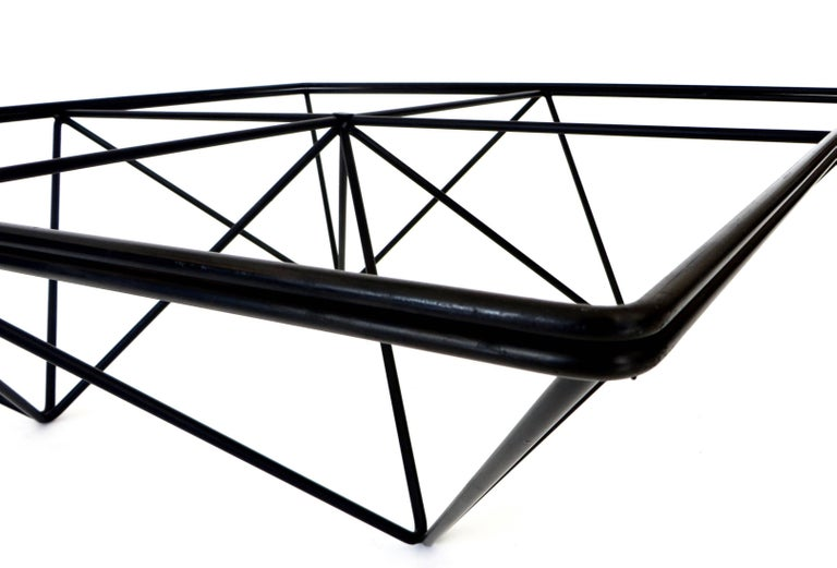 Italian Square Black Alanda Coffee Table by Paolo Piva with Glass Top B&B Italia For Sale 4