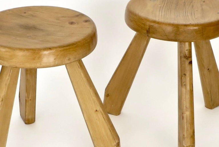 Pair of Sandoz Stools for Les Arcs Ski Resort Charlotte Perriand, France 8
