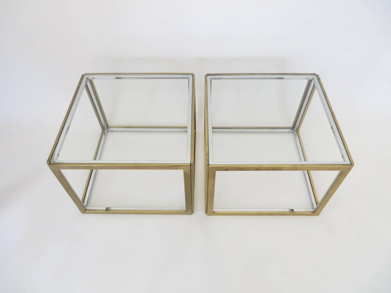 Pair of French Brass and Chrome Side Tables by Maison Charles et Fils circa 1970 In Excellent Condition For Sale In Chicago, IL
