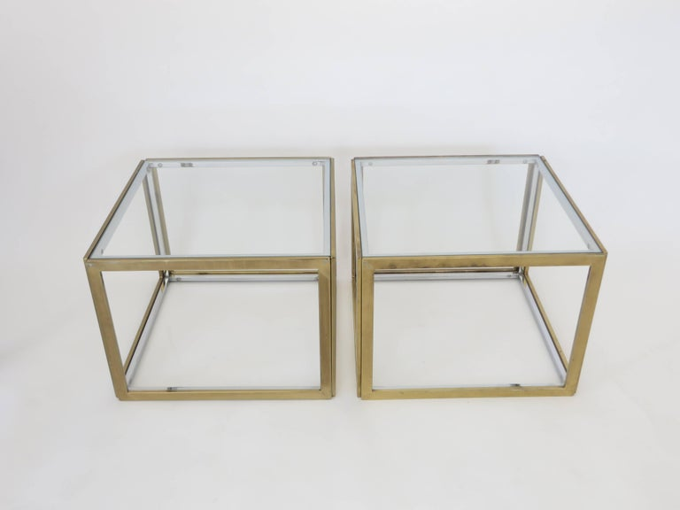 Late 20th Century Pair of French Brass and Chrome Side Tables by Maison Charles et Fils circa 1970 For Sale