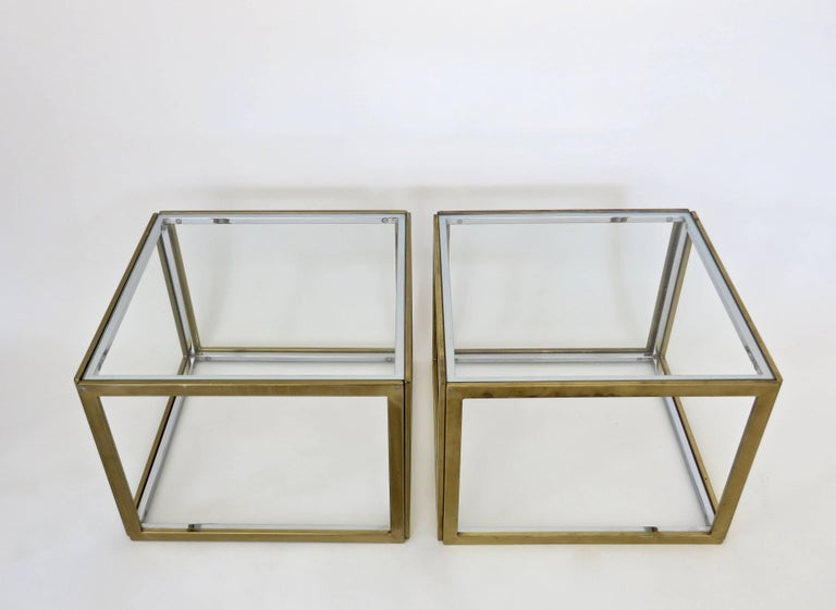 Pair of French Brass and Chrome Side Tables by Maison Charles et Fils circa 1970 For Sale 1