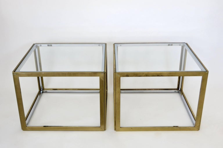 Pair of French Brass and Chrome Side Tables by Maison Charles et Fils circa 1970 For Sale 2