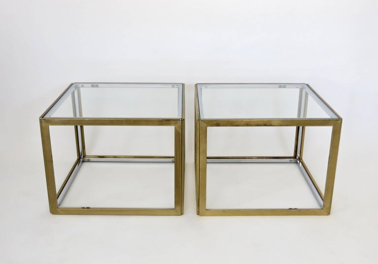 Pair of French Brass and Chrome Side Tables by Maison Charles et Fils circa 1970 For Sale 3