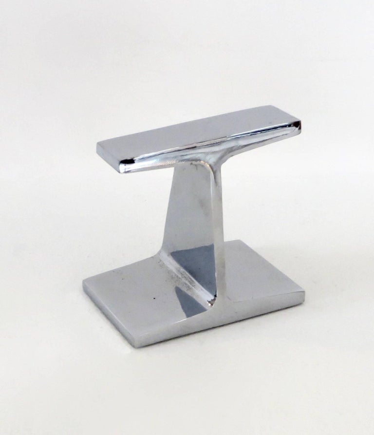 Chromed Steel I-Beam Bookend or Paperweight by Kauser Steel, 25th Anniversary In Excellent Condition For Sale In Chicago, IL