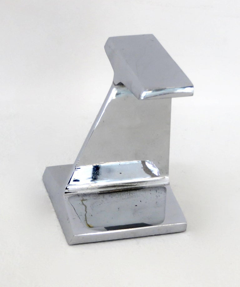 Chromed Steel I-Beam Bookend or Paperweight by Kauser Steel, 25th Anniversary For Sale 1