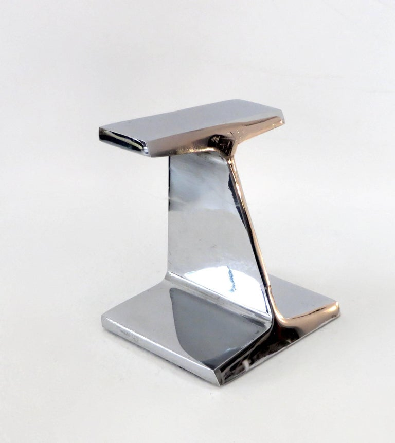 Mid-Century Modern Chromed Steel I-Beam Bookend or Paperweight by Kauser Steel, 25th Anniversary For Sale