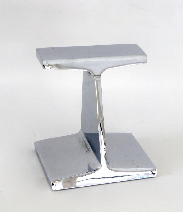 Chromed Steel I-Beam Bookend or Paperweight by Kauser Steel, 25th Anniversary For Sale 2