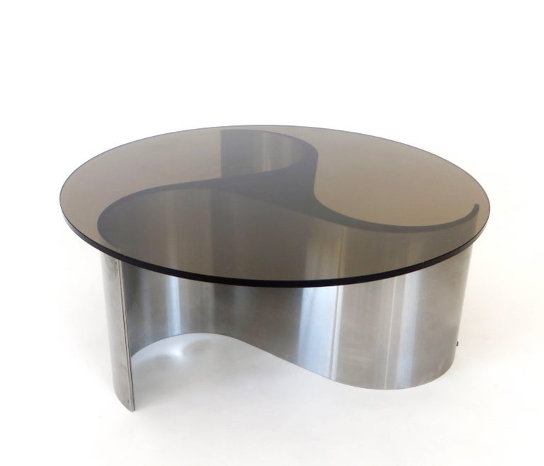 French Coffee or Side Table by Patrice Maffei Model Comete in Stainless Steel For Sale 1