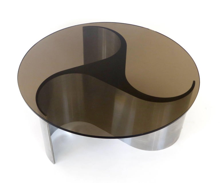 Mid-Century Modern French Coffee or Side Table by Patrice Maffei Model Comete in Stainless Steel For Sale
