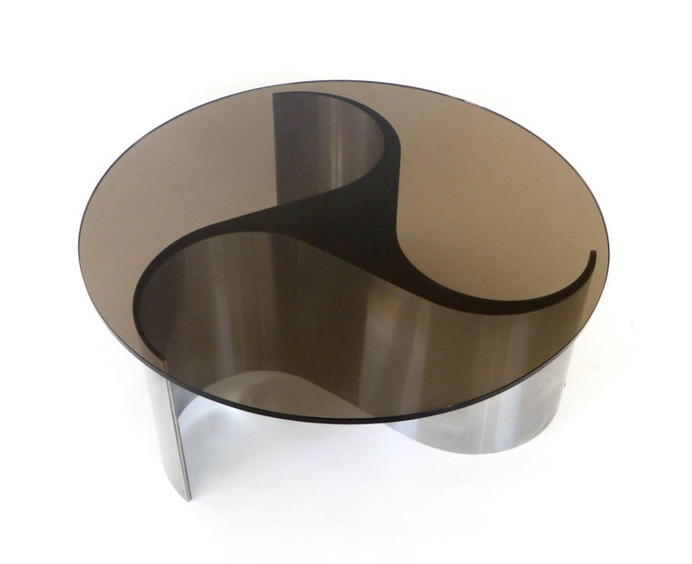 Late 20th Century French Coffee or Side Table by Patrice Maffei Model Comete in Stainless Steel For Sale