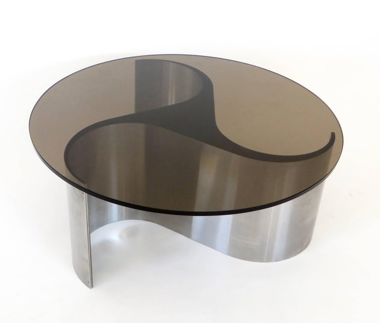 French Coffee or Side Table by Patrice Maffei Model Comete in Stainless Steel In Excellent Condition For Sale In Chicago, IL