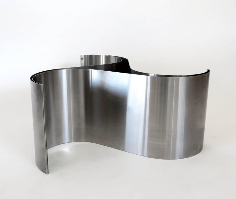 French Coffee or Side Table by Patrice Maffei Model Comete in Stainless Steel For Sale 4