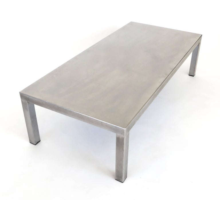 French Maria Pergay Created With Marina Varenne Brushed Stainless Steel Coffee Table  For Sale
