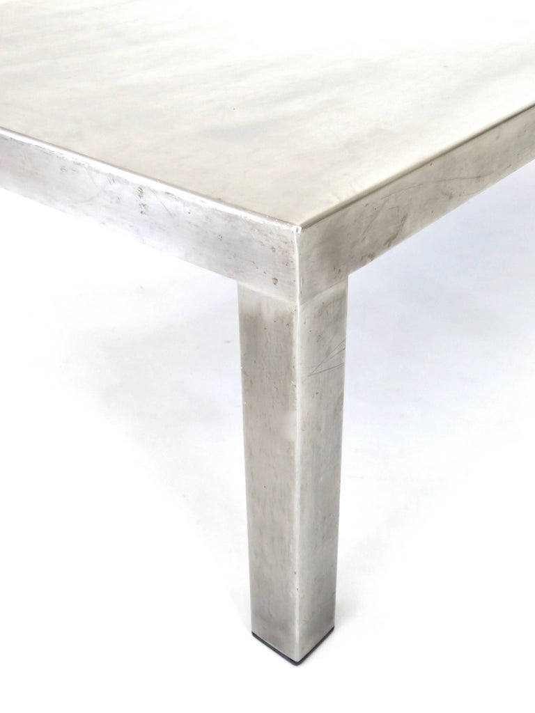 Maria Pergay Created With Marina Varenne Brushed Stainless Steel Coffee Table  For Sale 1