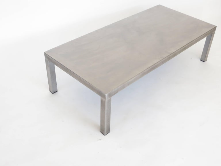 Late 20th Century Maria Pergay Created With Marina Varenne Brushed Stainless Steel Coffee Table  For Sale