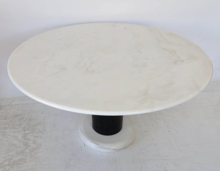 Carrara Marble Ettore Sottsass White and Black Round Marble Dining Table Lotorosso Polotronova For Sale