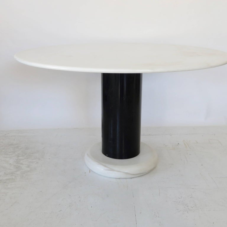Italian Ettore Sottsass White and Black Round Marble Dining Table Lotorosso Polotronova For Sale